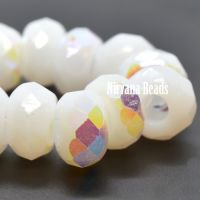 6x9mm Large Hole Roller Bead White with An AB Finish
