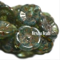 12mm Button Flower Sea Green with a Heavy Picasso Finish