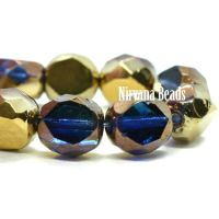 8mm Table Cut Faceted Round Sapphire and Sky Blue with a Bronze and Gold Finish