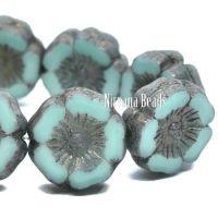 12mm Hibiscus Flower Blue Green with Purple-grey Metallic Finish