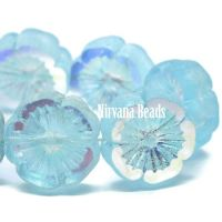 14mm Hibiscus Flower Baby Blue with Etched and AB Finish