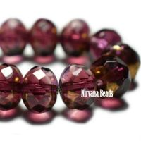 5x7mm Rondelle Purple with Brass Finish