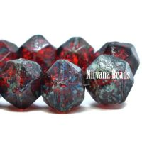 10mm English Cut Ruby Red with Picasso Finish