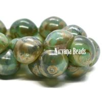 9x8mm Mushroom Button Beads GN. Green picasso
