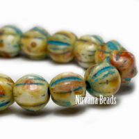 6mm Melon Yellow with Picasso Finish and Turquoise Wash