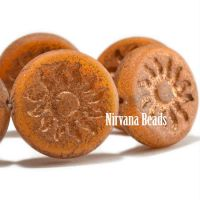 22mm Sun Coin Pumpkin with a Bronze Wash and Etched Finish