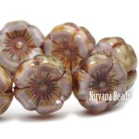 12mm Hibiscus Flower Plum and Grape with Picasso Finish
