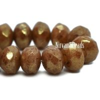 3x5mm Rondelle Rustic Brown with a Gold Luster Finish