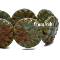 14mm Dahlia Dark Sage with a Picasso Finish and Coral Wash