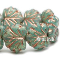 10x13mm Maple Leaf Sea Green with a Copper Wash
