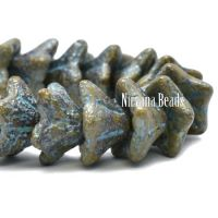 5x8mm Bell Flowers Stone with An Etched and Turquoise Wash
