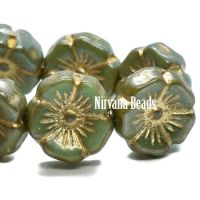 12mm Hibiscus Flower Tea Green Wtih Metallic Picasso Finish and Gold Wash
