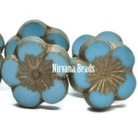22mm Hibiscus Flower Medium Sky Blue with a Gold Wash and Picasso Finish