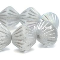 11mm Tribal Bicone Matte Grey with a Silver and AB Finish