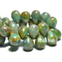 4x6mm Drop Sea Green with Picasso Finish