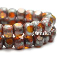 3x4mm Trica Pumpkin with Picasso Finish