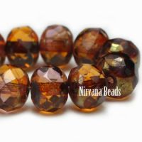 7x5mm Rondelle Beads - Pumpkin and Purple with a Golden Finish