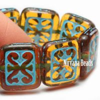 11x12mm Ornamental Rectangle Amber with a Turquoise Wash