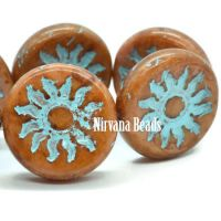 22mm Sun Coin Cinnamon with a Turquoise Wash