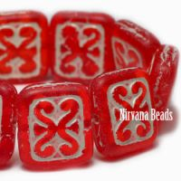 11x12mm Ornamental Rectangle Scarlet with a White Wash