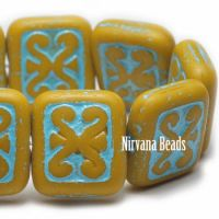 11x12mm Ornamental Rectangle Lemon Yellow with a Turquoise Wash