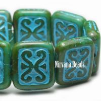 11x12mm Ornamental Rectangle Forest Green with Turquoise Wash