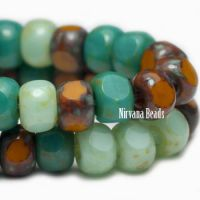 3x4mm Trica Mint, Forest Green and Pumpkin with Picasso Finish