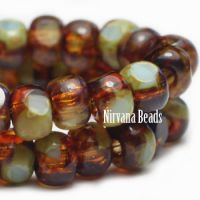 3x4mm Trica Amber and Tea Green with Picasso Finish