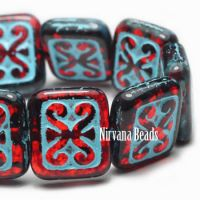 11x12mm Ornamental Rectangle Ruby Red with a Turquoise Wash