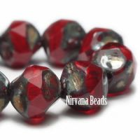 8mm Baroque Beads Ruby Red with a Picasso Finish