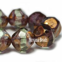 8mm Baroque Beads Light Green with a Bronze Finish