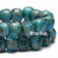 3x4mm Trica Pacific Blue and Turquoise with Picasso Finish