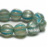 6mm Melon Pale Turquoise with Mercury Finish and Turquoise Wash