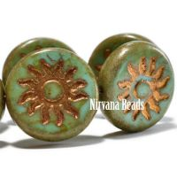 22mm Sun Coin Sea Green with Gold Wash and Picasso Finish