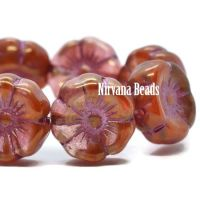 12mm Hibiscus Flower Boysenberry and Ladybug Red with Golden Luster and Pink Wash