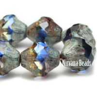10x11mm Baroque Bicone Grape, Sapphire, and Clear Glass with Picasso Finish