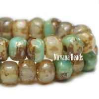 3x4mm Trica Champagne and Sea Green Mix