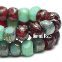3x4mm Trica Sea Green,medium Sky Blue and Red