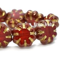 9mm Cactus Flower Ruby Red with a Bronze and Gold Finish