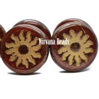 22mm Sun Coin Burnt Umber with Metallic Finish and Gold Wash