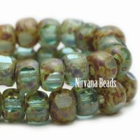 3x4mm Trica Sea Green with Picasso Finish