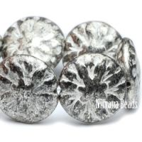 14mm Dahlia Antique Silver with White Wash
