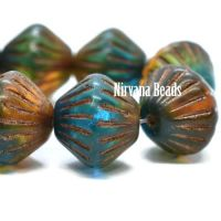 11mm Tribal Bicone Teal and Amber with a Metallic Brown Wash