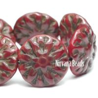 14mm Dahlia Red Oxide with Dark Brown Wash