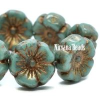 12mm Hibiscus Flower Sea Green with a Gold Finish and Wash