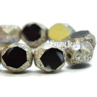 8mm Table Cut Faceted Round Black and White with An AB and Antique Silver Finish