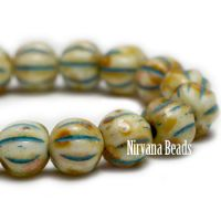 4mm Melon Yellow with Turquoise Wash - Short Strand