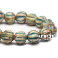 4mm Melon Pale Yellow with Picasso Finish and Turquoise Wash - Long Strand