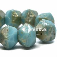 10mm English Cut Blue Turquoise with a Picasso Finish