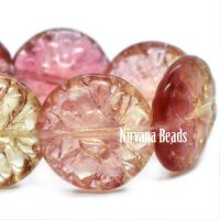 14mm Dahlia Crimson and Pale Yellow